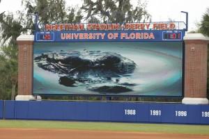 Photo of New scoreboard at UF Baseball Stadium