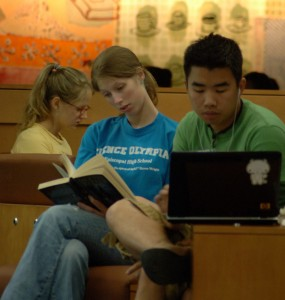 Student studying on laptop