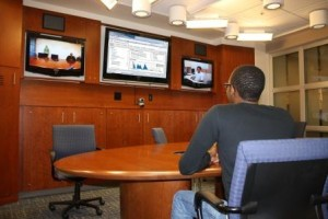 Student Participating in a Mtg via Videoconferencing