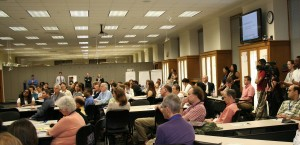 Attendees listening to presentation in Smathers Library East.