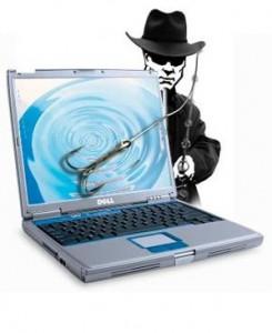 Scam artist lurking by computer