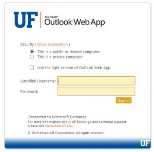 New Login for UF Exchange Mail