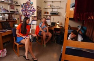 Students studying together in residence hall