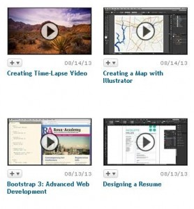 Image capture of 4 new courses available on lynda.com