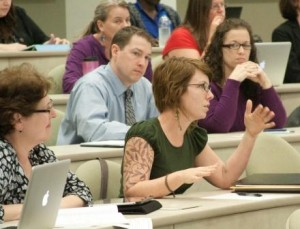 Staff attending Web template training class