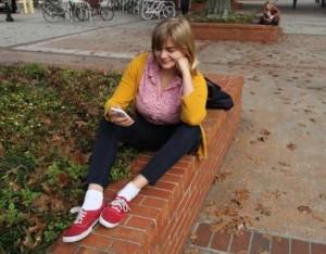 Student on smartphone
