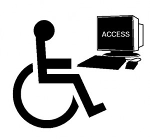 Drawing of wheelchair-bound man utilizing assistive device on his pC