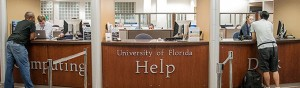 Students getting assistance at the UF Computing Help Desk