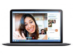 Woman using IM in Skype for Business