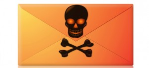 Envelope image with skull & crossbones on it