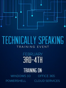 Technically Speaking event image with presentations listed