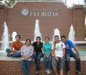 Students in front of 13th street fountain