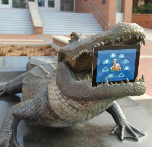 UFApps Wordmark with Bull Gator statue