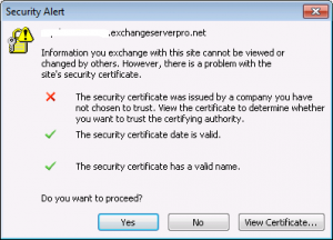 Image: MS Outlook 2010 untrusted certificate warning