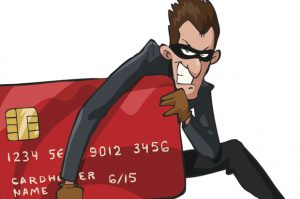 Cartoon image of thief running off with your credit card