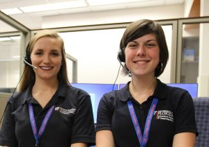 Two UF Computing Help Desk student supervisors_Photo taken Spring 2016