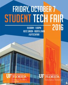 Image of TechFair 2016 Poster: Friday, October 7 student tech fair - 10:00am to 1:00pm at Reitz Union - North Lawn 2016