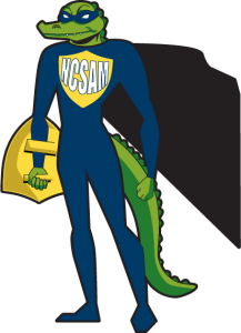 Hand-drawn image: a superhero gator who fights cyber-security crime