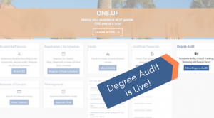 Graphic: ONE.UF homepage showing where degree audit feature is located