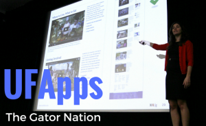 Photo: Instructor presenting in Reitz Union Auditorium, words 'UFApps - The Gator Nation' appear as overlay