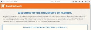 Screen Capture: Text seen by campus visitors who want to connect to UF's Wi-Fi network
