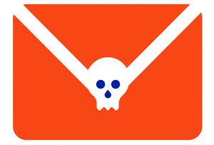 IMAGE GRAPHIC: Envelope with a skull on it to represent a 'Spear-Phishing' attempt.