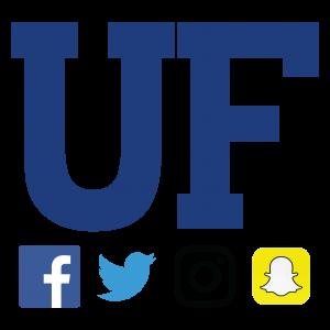 "GRAPHIC: UF ""block"" monogram with four social media icons beneath"