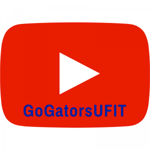 IMAGE: Image of the universal 'play video' arrow and the name of of UFIT's YouTube channel (GoGatorsUFIT).