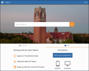 PHOTO: Screenshot capture of new ONE.UF Staff landing page.
