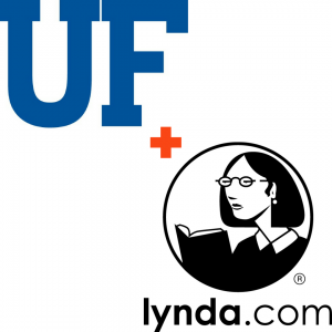 "GRAPHIC: ""UF"" Monogram image together with the lynda.com logo."
