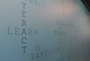 PHOTO: Wall word art in UF Newell Hall.