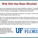 "SCREEN CAPTURE of new ""dangerous website"" block message for UF email."
