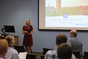 PHOTO: UF Office of Research Director Terra Dubois presenting on Nov. 9, 2017.