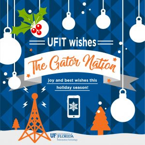 """UFIT wishes the Gator Nation joy and best wishes this holiday season"" surrounded by ornament, mistletoe, and Wi-Fi icons"
