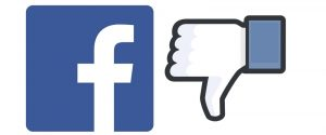 """GRAPHIC: Facebook logo with a """"thumbs down"""" image next to it."""