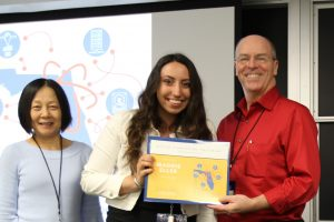 PHOTO: Vanguard High School student Maddie Eller with Ying Zhang (L) and Dr. Erik Deumens (R).