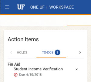 "SCREENSHOT: Screen capture of the ""To-Do"" action items panel in ONE.UF.EDU"