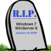 GRAPHIC: Tombstone depicting the end of life date for Win 7 and WinServer 2008.