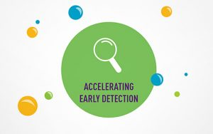 """GRAPHIC: Magnifying glass with the words """"Accelerating Early Detection"""""""