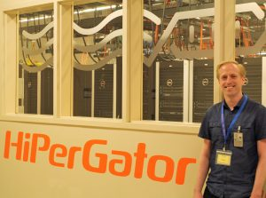 JPL-NASA Signal Analysis Engineer Brian Hawkins at the UF Data Center.