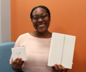 PHOTO: Student showing the 2019 Tech Fair raffle prizes.