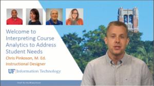 "PHOTO: Instructional Designer standing in front of ""Interpreting Course Analytics to Address Student Needs"" slide."