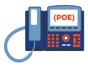 GRAPHIC: Image of a desk phone set with 'POE' in the phone display.
