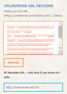 SCREEN SHOT: Long link in defense decoder tool shown with its decoded URL