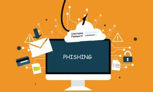 GRAPHIC: Phishing image with fishing hook grabbing email, other items from PC monitor