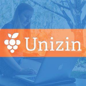 GRAPHIC: Unizin logo layered on female student studying outside