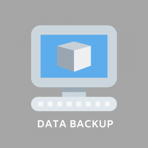 GRAPHIC: Image of desktop PC with the words DATA BACKUP underneath
