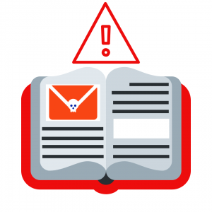 GRAPHIC: Open book [Journal] with a warning email icon on top.