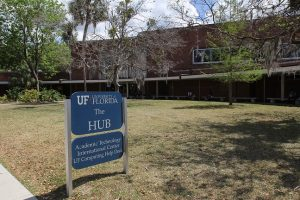 "PHOTO: Exterior of ""The Hub"" building on UF campus."