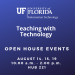 GRAPHIC WITH TEXT: Open House Events August 14, 15, 19 in Hub 221